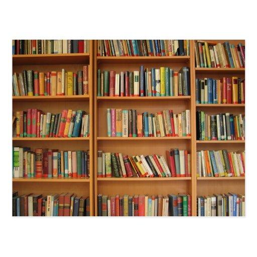 Bookshelf background postcards