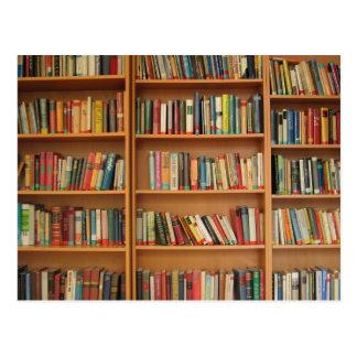 Bookshelf background postcard