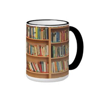 Bookshelf background ringer mug