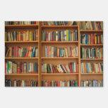 Bookshelf background signs