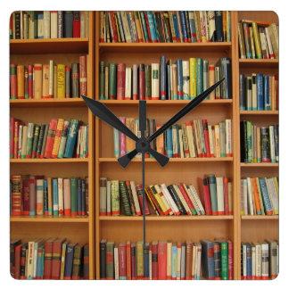 Bookshelf background square wall clock