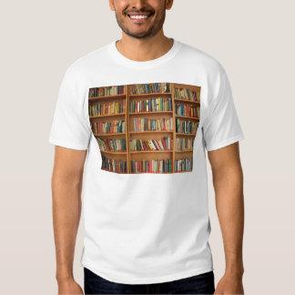Bookshelf background tee shirt