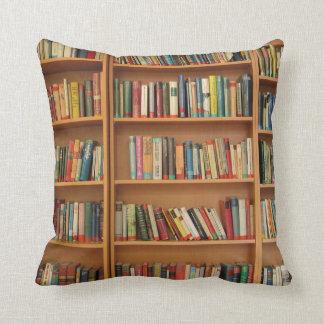 Bookshelf background throw pillow