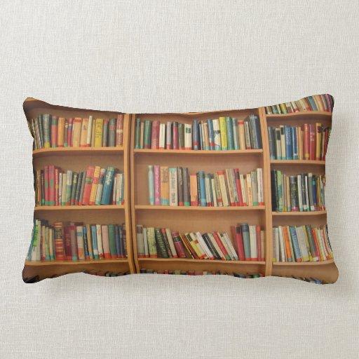 Bookshelf background throw pillows