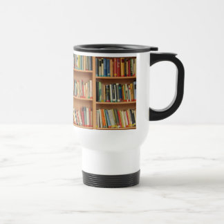 Bookshelf background travel mug