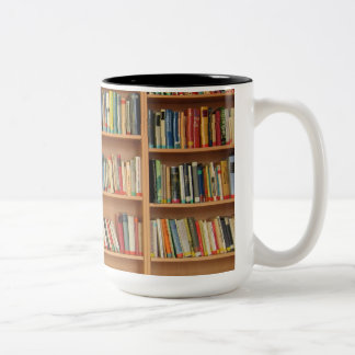 Bookshelf background Two-Tone coffee mug