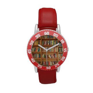 Bookshelf background wristwatches