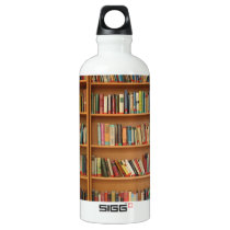 Bookshelf background water bottle