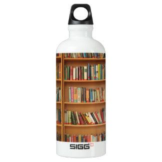 Bookshelf background water bottle