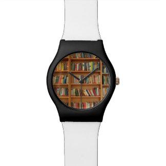 Bookshelf background wrist watch