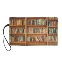 Bookshelf background wristlet purse