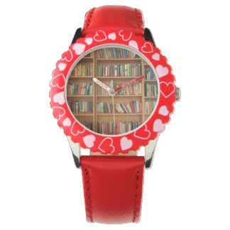 Bookshelf background wristwatch