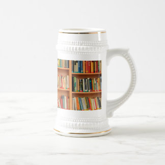 Bookshelf Books Library Bookworm Reading Beer Stein