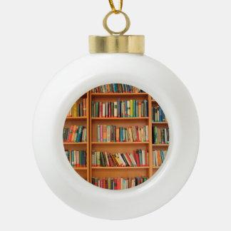 Bookshelf Books Library Bookworm Reading Ceramic Ball Christmas Ornament