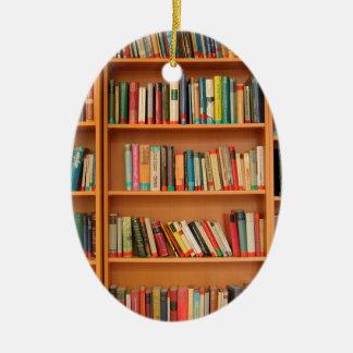 Bookshelf Books Library Bookworm Reading Ceramic Ornament