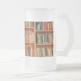 Bookshelf Books Library Bookworm Reading Frosted Glass Beer Mug