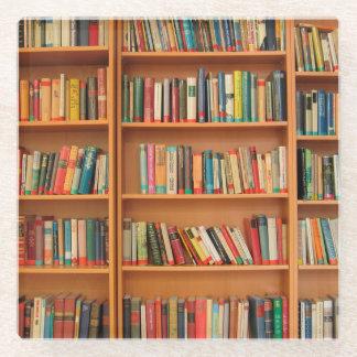 Bookshelf Books Library Bookworm Reading Glass Coaster