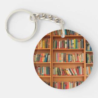 Bookshelf Books Library Bookworm Reading Keychain