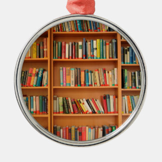 Bookshelf Books Library Bookworm Reading Metal Ornament