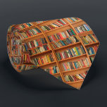 "Bookshelf Books Library Bookworm Reading Neck Tie<br><div class=""desc"">School library educational books on a brown wooden bookshelf for teachers,  students and bookworms.</div>"