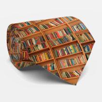 Bookshelf Books Library Bookworm Reading Neck Tie
