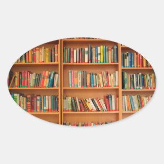 Bookshelf Books Library Bookworm Reading Oval Sticker