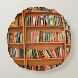 Bookshelf Books Library Bookworm Reading Round Pillow