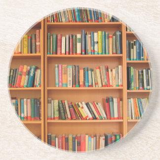 Bookshelf Books Library Bookworm Reading Sandstone Coaster