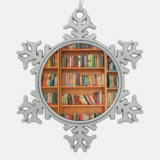 Bookshelf Books Library Bookworm Reading Snowflake Pewter Christmas Ornament