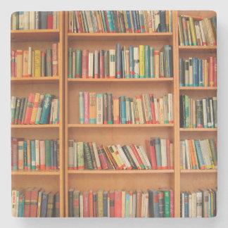 Bookshelf Books Library Bookworm Reading Stone Coaster