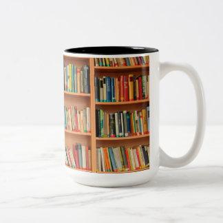 Bookshelf Books Library Bookworm Reading Two-Tone Coffee Mug