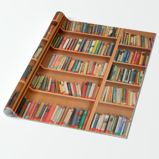 Bookshelf Books Library Bookworm Reading Wrapping Paper