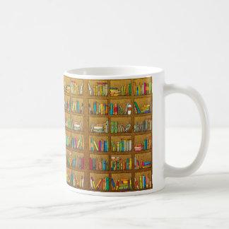 bookshelf pattern coffee mug