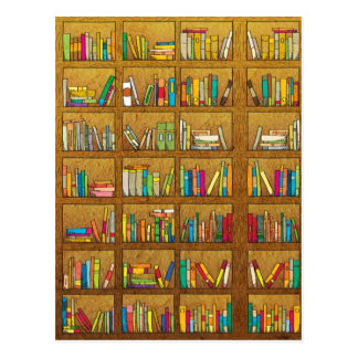 bookshelf pattern postcard