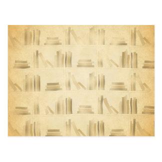 Bookshelf Pattern. Vintage Style Look Background. Postcard