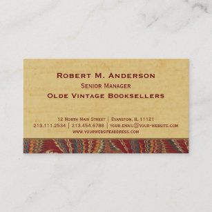 Bookshop business cards zazzle bookshop book binder library elegant antique business card reheart Image collections
