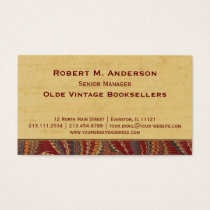Bookshop, Book Binder Library Elegant Antique Business Card