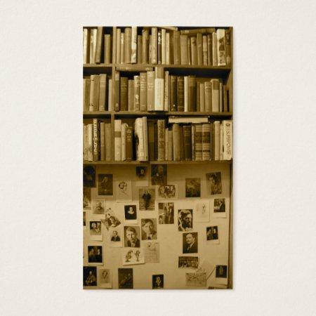Vintage Bookshelf Business Cards