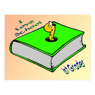 Bookworm 1st Grader - I love School Postcard