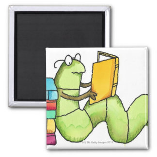 Bookworm 2 Inch Square Magnet