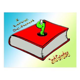 Bookworm 2nd Grader - I love School Postcard