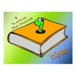 Bookworm 3rd Grader - I love School Postcard