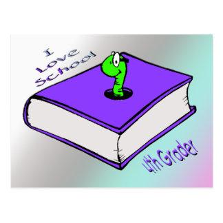 Bookworm 4th Grader - I love School Postcard
