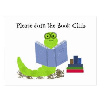 Bookworm - Book Club Invitation Postcard