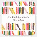 Bookworm Book Label Square Sticker