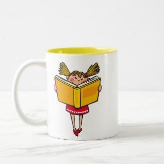 Bookworm book lover geek girl Two-Tone coffee mug