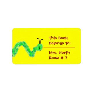 Bookworm Book Plate Custom Address Labels