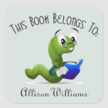 """Bookworm Book Plate with Custom Name<br><div class=""""desc"""">A cute cartoon bookworm in spectacles makes a colorful bookplate. Replace the sample name with your own. The light blue background color may be edited to any other color by choosing the &quot;customize it&quot; button and selecting a different background color.</div>"""
