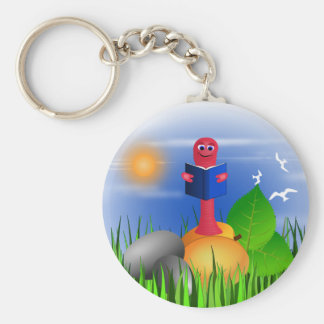 Bookworm Book Worm Colorful Cute Round Keychain Keychains