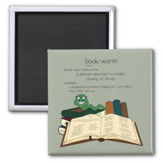 Bookworm - Change Color 2 Inch Square Magnet